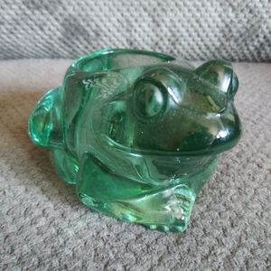 Vintage Green Glass Frog Candle Holder Heavy Retro